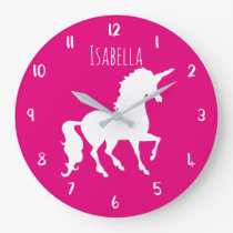 Pink or Custom Color Unicorn Personalized Kids Large Clock
