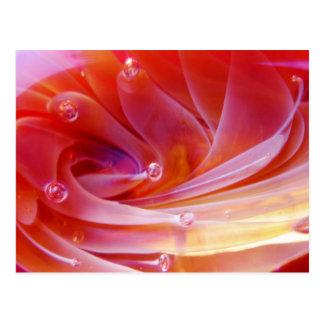 Pink Orange 3D Glass Bubble Fire Lotus Postcard