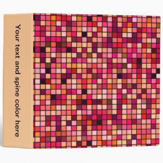 Pink, Orange And Earth Tones Squares Pattern Binder