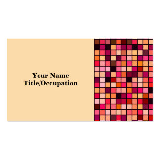 Pink, Orange And Earth Tones Squares Pattern Business Cards