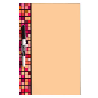 Pink, Orange And Earth Tones Squares Pattern Dry-Erase Board