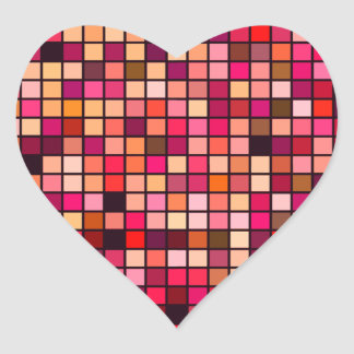 Pink, Orange And Earth Tones Squares Pattern Heart Sticker
