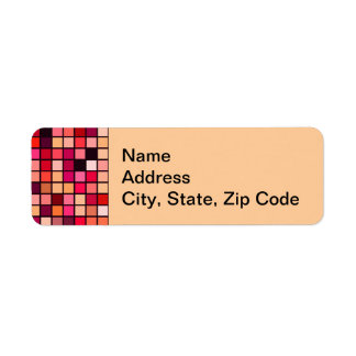 Pink, Orange And Earth Tones Squares Pattern Labels