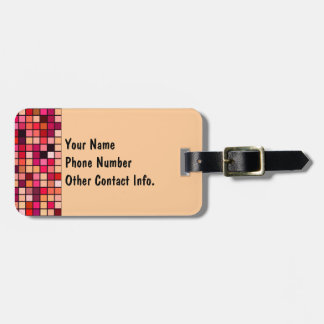 Pink, Orange And Earth Tones Squares Pattern Luggage Tags