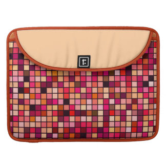 Pink, Orange And Earth Tones Squares Pattern MacBook Pro Sleeve