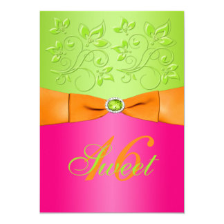 Pink, Orange, and Green Sweet Sixteen Invitation