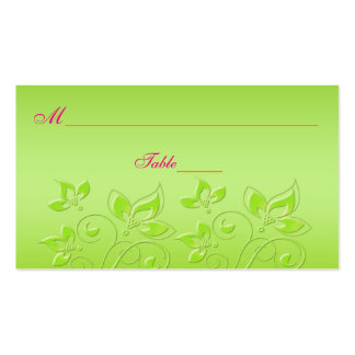 Pink, Orange, and Lime Green Floral Place Cards Business Card Template