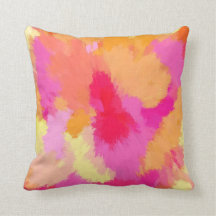 Pink, Orange and Yellow Watercolor Pillow