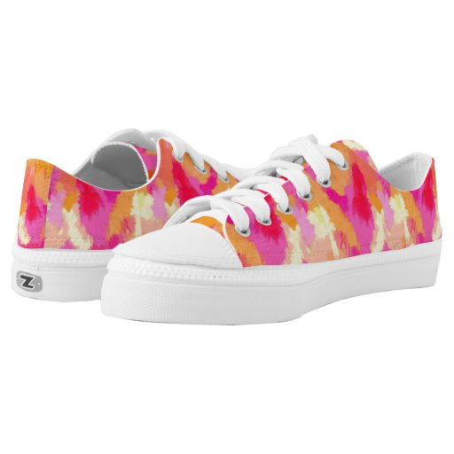 pink orange and yellow watercolor sneakers printed shoes