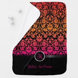 Pink & Orange Blend Damask Floral Design Pattern Stroller Blanket