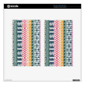 Pink Orange Blue Geo Aztec Tribal Print Pattern Kindle Fire Skins