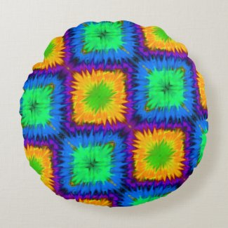 Pink Orange Blue Rainbow Tie-Dye Reversible Pillow
