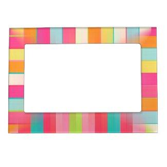 Pink Orange Blue Squares Magnetic Frame