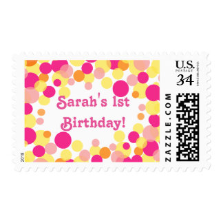 Pink orange bubble stamps