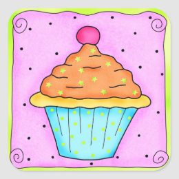 Pink Orange Cherry Cupcake Sticker