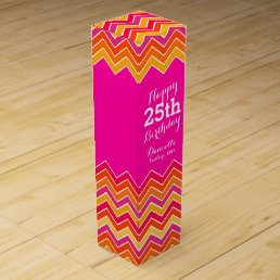 Pink orange chevron zigzag 25th birthday wine box