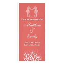 Pink Orange Coral Reef Seahorse Wedding Program