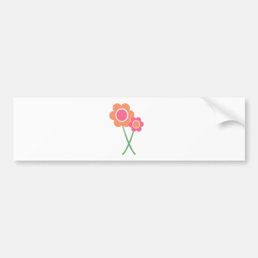 Pink Orange Daisy Flowers Bumper Stickers
