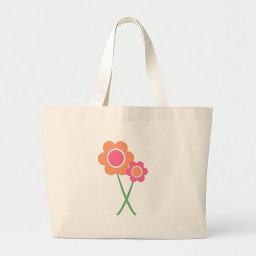 Pink Orange Daisy Flowers Canvas Bags