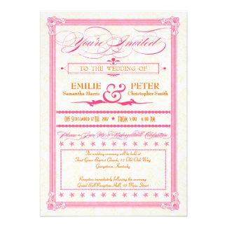 Pink & Orange Damask Poster Wedding & RSVP Invite