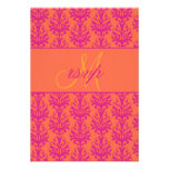 Pink Orange Damask Wedding RSVP for Square Invites