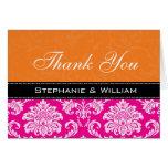 Pink Orange Damask Wedding Thank You Cards