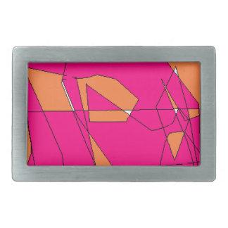 Pink Orange Digital Painting, Kids Art Rectangular Belt Buckles