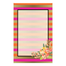 Pink, Orange & Faux Metallic Stripes w/ Florals Stationery