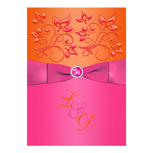 3 000 Pink And Orange Wedding Invitations Pink And