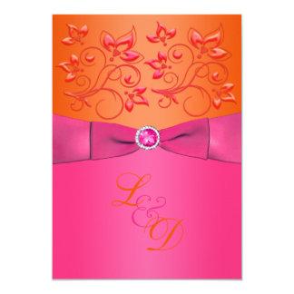 Pink, Orange Floral Monogram Wedding Invitation