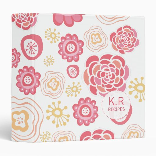 Pink  Orange Floral Pattern Designer Recipe Binder