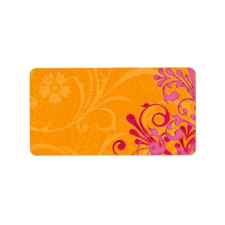 Pink Orange Floral Wedding Blank Address Label