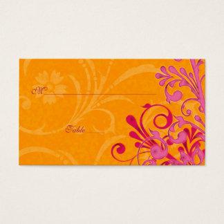 Pink & Orange Floral Wedding Place or Escort Cards