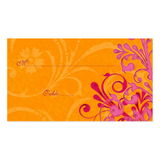 Pink & Orange Floral Wedding Place or Escort Cards Double-Sided Standard Business Cards (Pack Of 100)