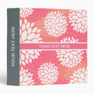 Pink Orange Flower Pattern 3 Ring Binder