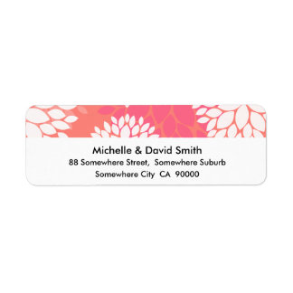 Pink Orange Flower Pattern Label