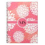 Pink Orange Flower Pattern Note Books