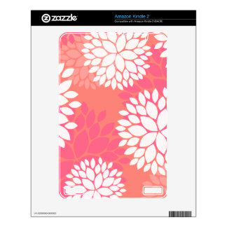 Pink Orange Flower Pattern Decals For The Kindle