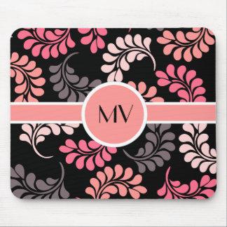 Pink Orange Flowers Monogram Mouse Pad