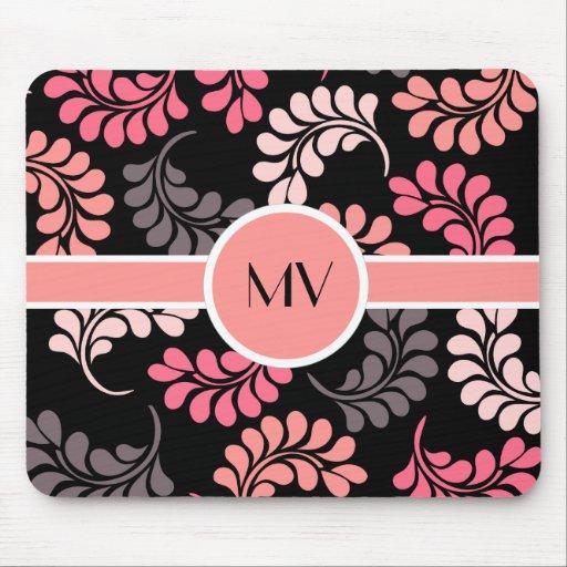 Pink Orange Flowers Monogram Mousepads