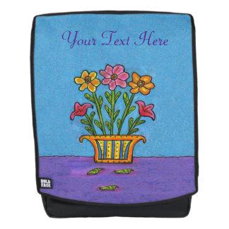 Pink Orange Flowers on Stems in Fancy Vase Backpack