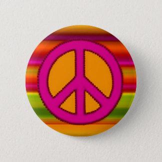 Pink Orange Fractal & Peace Sign Pinback Button