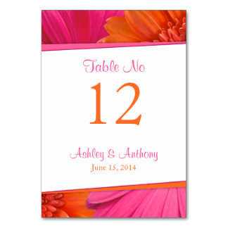 Pink Orange Gerbera Daisy Flower Wedding Table Card