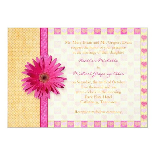Pink Orange Wedding Invitations: Pink Orange Gerbera Daisy Wedding Invitation