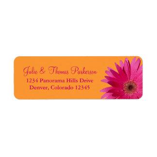 Pink Orange Gerbera Daisy Wedding Return Address Label