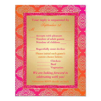 Pink, Orange, Gold FAUX Glitter RSVP Card