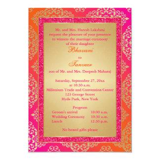 """Pink, Orange, Gold FAUX Glitter Wedding Invite 5"""" X 7"""" Invitation Card"""