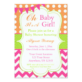 Pink Orange Green Baby Girl Shower Invite