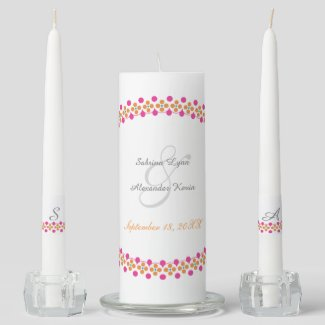 Pink Orange Green Dot Accented Wedding Unity Candle Set