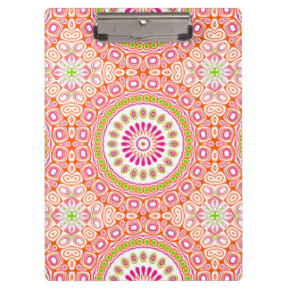 Pink, Orange & Green Kaleidoscope Flowers Design Clipboards